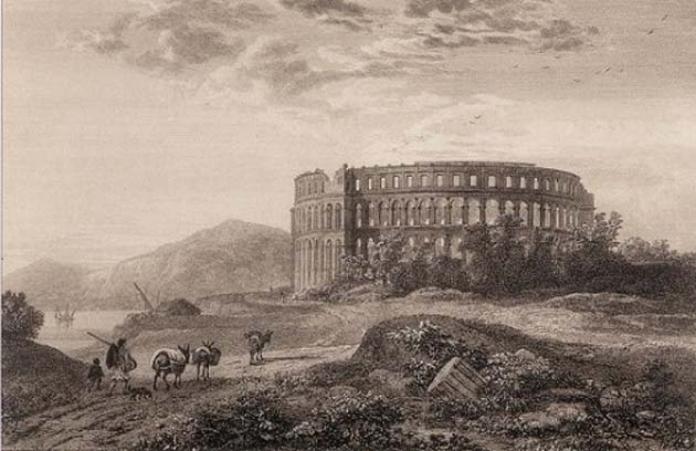 Pulska arena oko 1820. / s bakropisa Thomasa Allasona