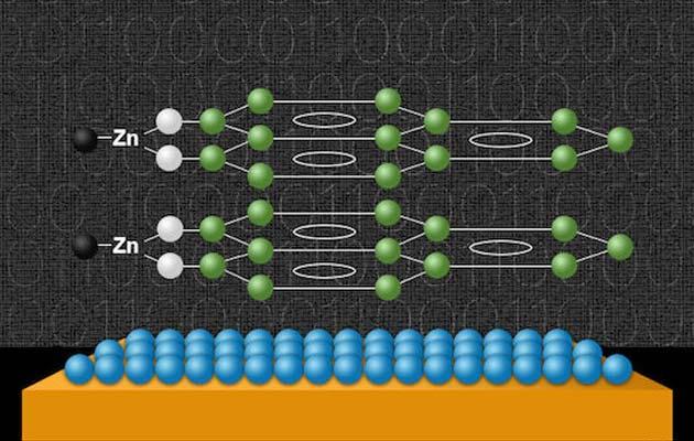 Ilustracija nove supramolekule izrađene od grafena i atoma cinka
