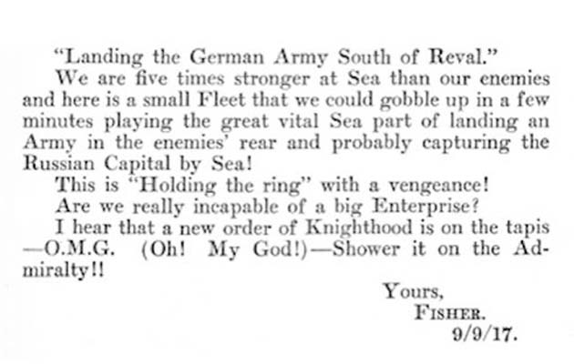 OMG (Oh! My God) nije fraza koja je nastala nedavno na internetu. Još davne 1917. godine, Admiral John Fisher je upotrijebio frazu u pismu koje je poslao Winston Churchillu.