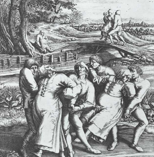 Djelo Hendrika Hondiusa prikazuje tri žene pogođene kugom. Rad se temelji na izvornom crtežu Peter Brueghela, koji je navodno bio svjedok Epidemiji plesa 1564. godine u Flandriji.