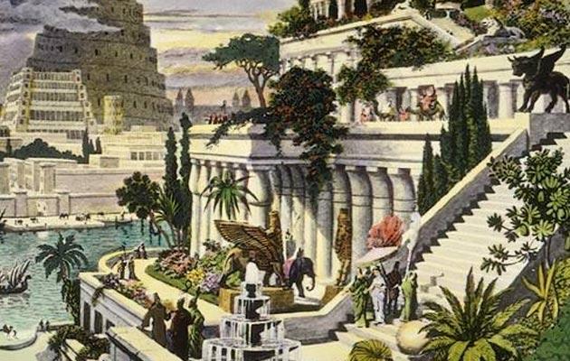 Viseći vrtovi u Babilonu, umjetnička rekonstrukcija Martina Heemskercka,16. stoljeće