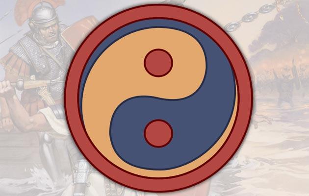 Yin yang (Taijitu), je popularni simbol koji predstavlja koncept suprotnosti, a također je i univerzalni simbol religije poznate kao Taoizam. Uprkos popularnom vjerovanju da se  prvi put pojavio u Kini, simbol (slika iznad) se mnogo ranije koristio (ca 430. godine) kao emlbem na štitu Zapadne Rimske Pješadije (armigeri defensores seniores). To je ujedno i prva poznati prikaz simbola.